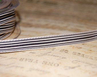 Heritage Black and Cream Striped Ribbon 3/8