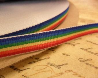 Retro Rainbow Grosgrain 3/8 inch double sided ribbon