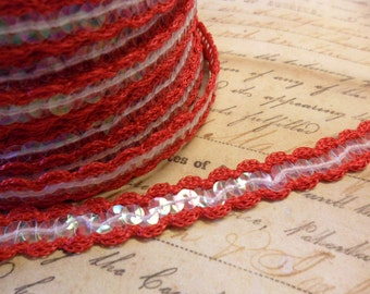 Cherry Red scalloped crochet trim with irridecent sequins