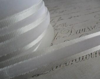 Soft White ribbon with White velvet center 5/8 wide