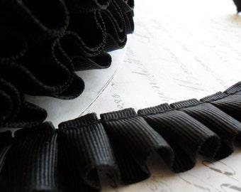 7/8 Black Box Pleated Grosgrain Ribbon Trim