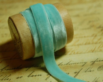 1/4 inch Robins Egg Blue Velvet Ribbon