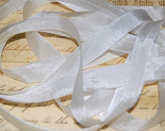 Linen White Vintage Seam Binding Ribbon 1/2 inch
