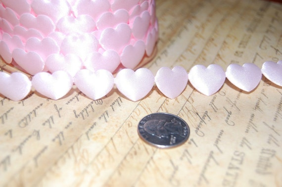 Pink Satin Puffy Heart Ribbon Trim