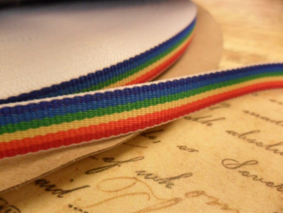 Retro Rainbow Grosgrain 3/8 inch double sided ribbon