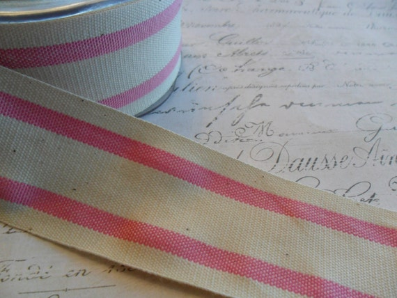 French Style Organic Cotton Natural and Pink Stripe Ribbon 1.5 inches wide