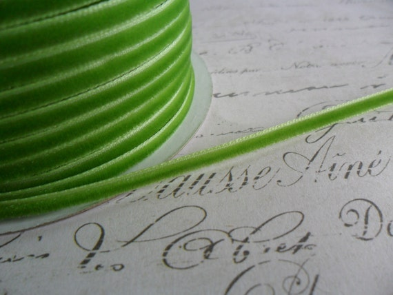 1/8 inch wide Spring Green velvet ribbon trim
