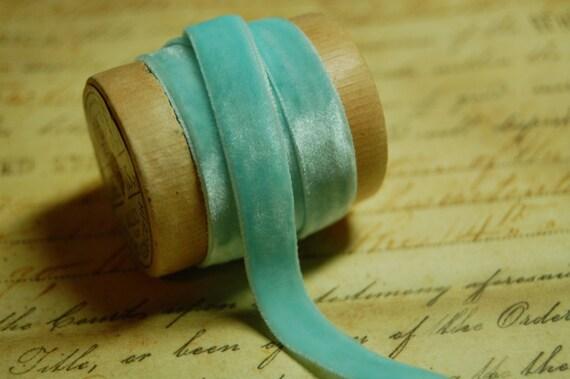 1/4 inch Robins Egg Blue Velvet Ribbon