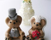 Wedding Bears.Cake topper/ Keepsake. Bride and groom Joybears with red roses