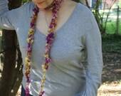 SunBurst Knit Lariat with Handspun Supercoil Art yarn- Textile Couture, FiberArt to Wear