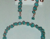 Turquoise and Copper Dragonfly Set