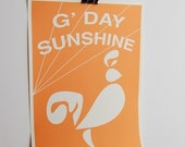 G'day Sunshine...GicleePrint Poster in Citrus Orange...9x12