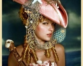 RESERVED - 25 Percent Off - The Rianna - Seafaring Pirate Hat - Tricorn - As Seen in Gothic Beauty Magazine