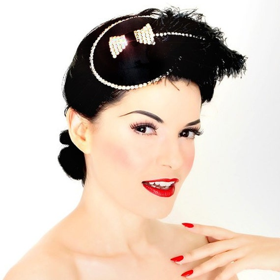Rhinestone Bow and Feather Cocktail Hat-Goth-Pinup-Fascinator