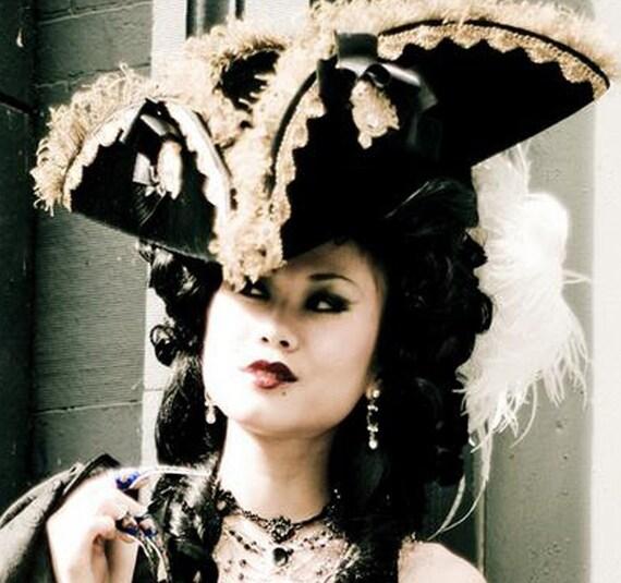 The Munchausen - Velvet Tricorn Hat  - Pirate - Marie Antoinette