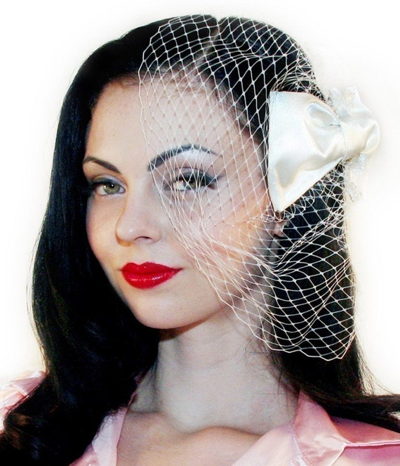 RUSH FEE - Classic Birdcage Veil with Satin Bow