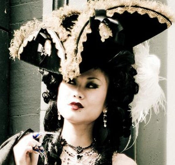 Velvet Tricorn Hat - Baron Munchausen - Pirate - Marie Antoinette - As Seen at Dances of Vice