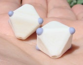 SALE - Ivory and Purple lampwork crystals - earring pair