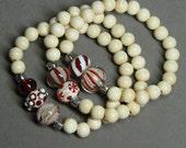 Peppermint Creme Stretch Bracelets - handmade lampwork