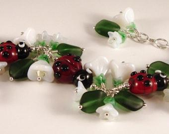 Ladybug lampwork cha-cha bracelet
