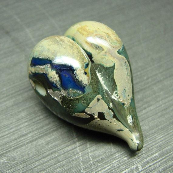Silvered Copper Green Heart - handmade lampwork bead