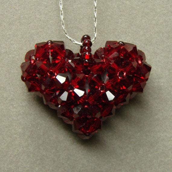 Siam Red - 3D Swarovski Puffy Heart necklace