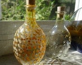 Dotted Glass Bottle with Cork Hand Blown by Jenn Goodale