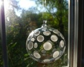 Medium White and Clear Dotted Hand Blown Ornament Hand Sculpted by Jenn Goodale