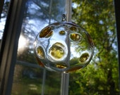 Medium Transparent Amber and Clear Dotted Hand Blown Ornament Hand Sculpted by Jenn Goodale