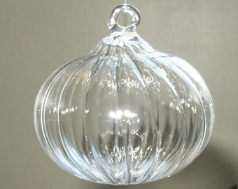 Small Clear Ribbed Glass Ornament Hand Blown by Jenn Goodale