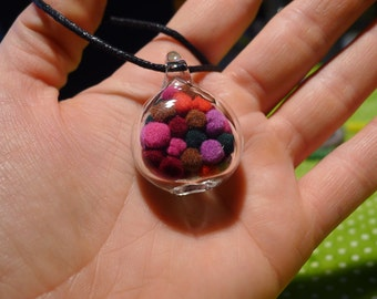 One Hand Blown Glass Pendant with Pom Poms Inside - Hand Sculpted by Jenn Goodale