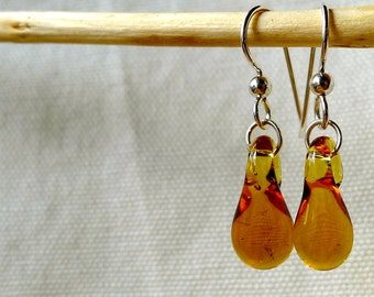 Transparent Amber Glass Droplet Earrings Hand Sculpted by Jenn Goodale