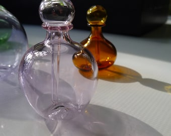 Transparent Pink Glass Perfume Bottle with Stopper Hand Blown by Jenn Goodale