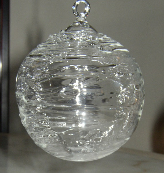 Christmas Ornaments Clear Glass : Extra large clear glass wrapped ornament hand blown and