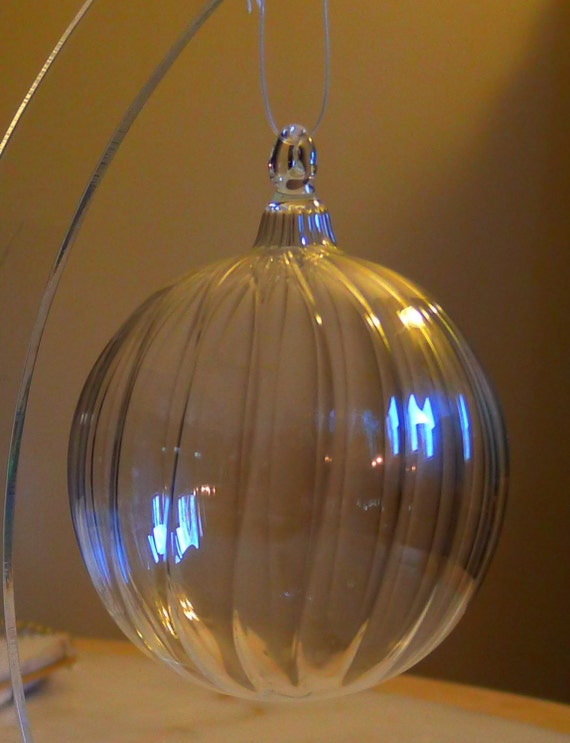Medium Clear Ribbed Glass Ornament Hand Blown and Sculpted by Jenn Goodale