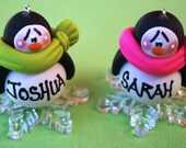 Personalized Penguin on Snowflake Clay Christmas Ornament