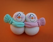 Personalized Snowman Couple Clay Christmas Ornament PINK & AQUA