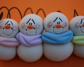 Personalized Clay Snowman Family of FOUR Ornament