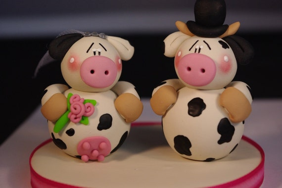 Custom Clay Cows Wedding Cake Topper