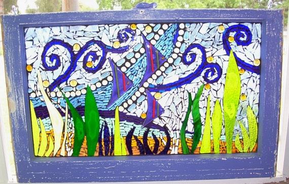 Window, vintage, purple, fish suncatcher