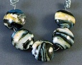 Cosmic Drift - Lampwork Glass Lentil Beads - Organic Design