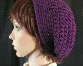 Crocheted Slouchy Beanie in Deep Violet Purple