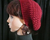 Slouchy Beanie in Cranberry Red - Crocheted Hat