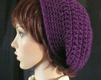Crocheted Slouchy Beanie in Deep Violet Purple