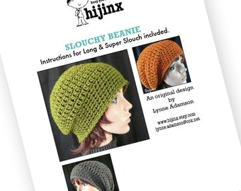 PDF PATTERN Slouchy Beanie Includes Long and Super Slouch Instructions