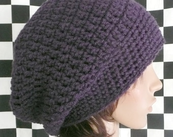 Super Slouchy Beanie in Eggplant Purple