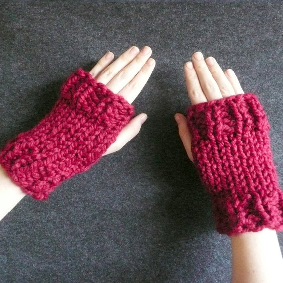 Tiger Paws - Knitted Fingerless Mitts in Chunky Cranberry