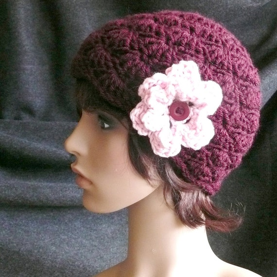 Shell Pattern Cap or Beanie in Burgundy with Pink Flower and Button