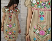 RAINBOW EMBROIDERY floral embroidered VINTAGE 70s 80s Oaxacan MEXICAN BOHO shift mini TENT DRESS tan bohemian os One Size s m l xl