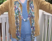 Gray\/Multicolor Long Stitch Textured Scarf